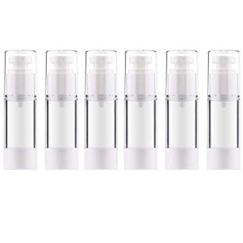 Alledomain, Luftlose Pumpflasche, nachfüllbar, leer, transparent, für Reisen, Lotion, Vakuum-Pump-Flaschen für Foundation, Essenz, Lotion, 30 ml, 6 Stück