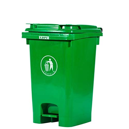 SZQ-Mülltonnen 60 Liter Pedal Trash Can, Farbe Klassifizierung Trash Can Outdoor Street Sauber Trash Die Gesellschaft Fabrik Kunststoff Trash Can, für Hotel/Straße (Color : Green, Size : 60L)