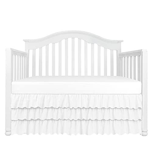 3 Tiered Ruffled Crib Skirt Baby Girl Nursery Bedding Dust Ruffle (3 Tiered White)