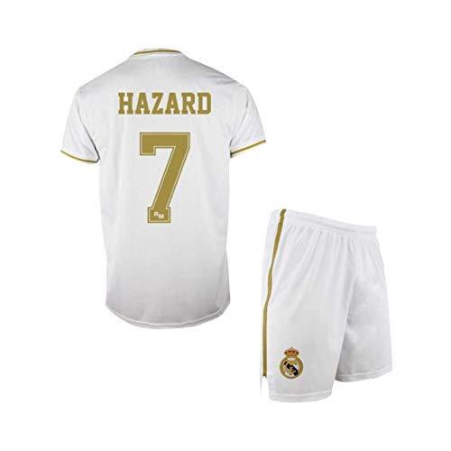Conjunto Camiseta y pantalón 1ª equipación del Real Madrid 2019-20 - Replica Oficial con Licencia - Dorsal 7 Hazard - Niño Talla 10