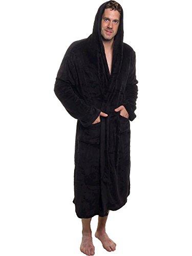 Ross Michaels Men's Hooded Robe - Plush Shawl Kimono Bathrobe for Men...