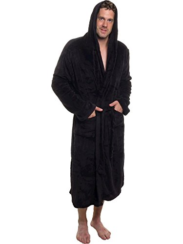 Ross Michaels Men's Hooded Robe - Plush Shawl Kimono Bathrobe for Men...