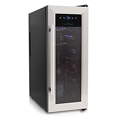 NutriChef 12 Bottle Thermoelectric Wine Cooler / Chiller | Counter Top Red And White Wine Cellar | FreeStanding Refrigerator, Quiet Operation Fridge | Stainless Steel