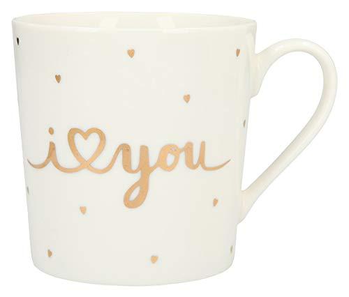 Depesche 5909.011 Tasse mit Henkel, aus Porzellan, 300 ml, mit Aufschrift, I (Herz) You