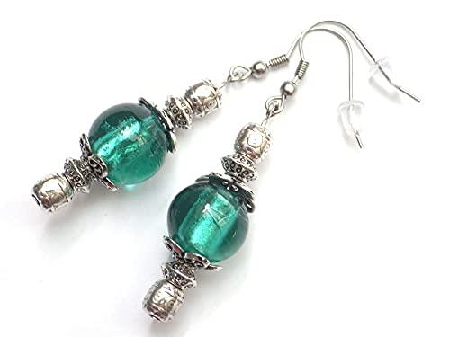 Pendientes Thurcolas de la gama Venezia en cuentas de cristal de Murano verde