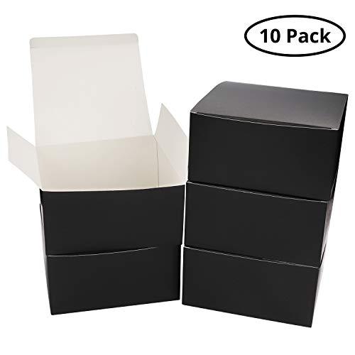 10-er Pack Karton Schachteln Schwarz - Geschenkboxen 20,2x20,2x10cm Pappschachteln mit Deckel - Kraftpapier Geschenk Box für Geschenke, Hochzeit, Brautjungfern, Gebäck, Cupcakes, Süßigkeiten, Basteln