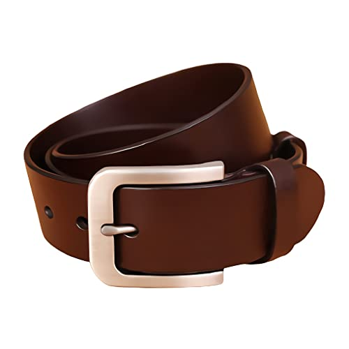 zdz Cintura in Pelle da Uomo da 1,5',Fibbia in Lega Marrone Fibbia Reversibile for Foro espanso Reversibile Cintura Semplice,Jeans Casual da Uomo Cintura for Abito da Lavoro
