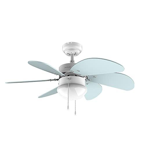 Cecotec Ventilador de techo EnergySilence 3600 Vision Sky. 50 W, Diámetro 92 cm, Lámpara, 3 Velocidades, 6 Aspas reversibles, Función Verano/Invierno, Interruptor de Cadena, Blanco/Azul