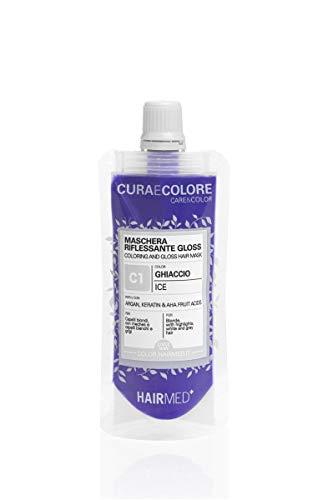 HAIRMED - Cura e Colore - Maschera Riflessante Capelli - Bagno di Colore Senza Ammoniaca - Gloss C1 - Ghiaccio - 40 ml