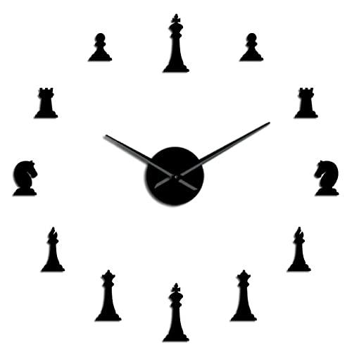 xinxin Reloj de Pared Piezas de ajedrez Rey Obispo Caballero Peón Juego de salón DIY Reloj de Pared Grande Pegatinas de ajedrez Reloj de Pared Regalos de Jugador de ajedrez