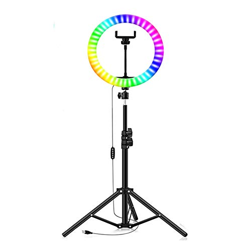 Anillo De Luz RGB De 10 'Con Luz USB Para Selfies Con Trípode Extensible Y Soporte Para Teléfono, 16 Colores, 3 Modos De Flash Para Maquillaje / Transmisión En Vivo / Tiktok / Grabación De Video,Negro
