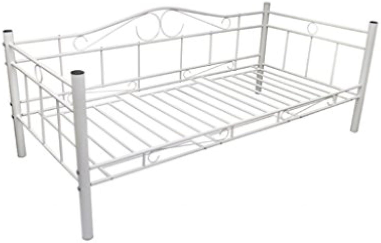 Anself Metallbett Einzelbett mit Lattenrost für 200 x 90 cm Matratze Wei