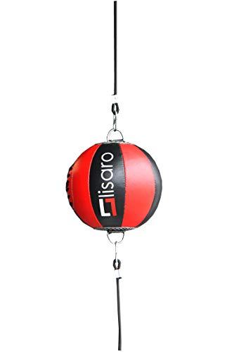 Lisaro Leder Doppelendball/Durchmesser ca. 25cm inkl. 2 elastischen Spanngurten ca. 100cm lang | schwarz-rot