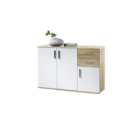 AVANTI TRENDSTORE - BEA - Comò e cassettiere, in Legno Laminato e Bianco, Disponibile in 2 Diversi Colori e 3 Diverse Dimensioni (Marrone-Bianco, 120x82x35 cm)