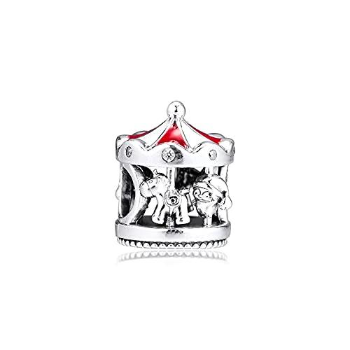 LIIHVYI Pandora Charms para Mujeres Cuentas Plata De Ley 925 Carrusel De Navidad De Mano Compatible con Pulseras Europeos Collars