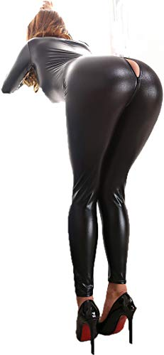 Tomtop201309 Women's Sexy Wetlook Shiny Pu Leather Bodysuit Zipper Crotch Catsuit Jumpsuit Clubwear (Black, M)