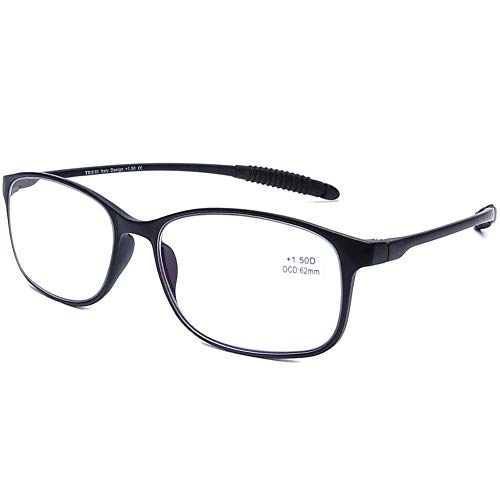 DOOViC Blaulichtfilter Computer Lesebrille Matt Schwarz/Rechteckig Rahmen Brille mit Stärke für Damen/Herren 1,0