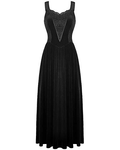 Dark in love - Vestido de Novia gótico de Encaje de Terciopelo Negro Estilo Steampunk Victoriano Negro Negro (36