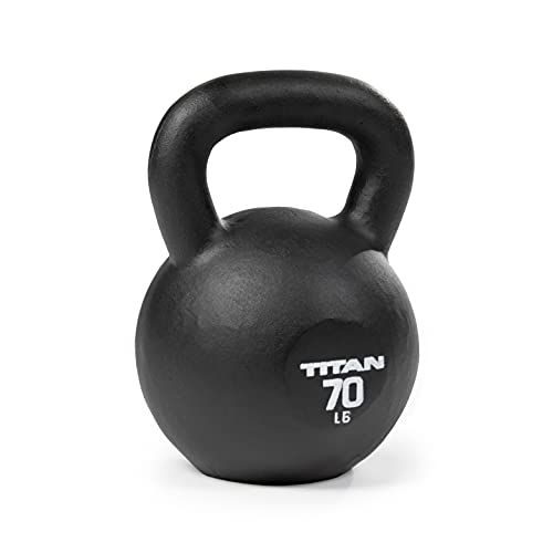 Titan Fitness 70 LB Cast Iron Kettlebell, Single Piece Casting, LB Markings, Full Body Workout