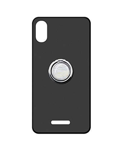 Sunrive Kompatibel mit WIKO View 2 GO Hülle Silikon, 360°drehbarer Ständer Ring Fingerhalter Fingerhalterung Handyhülle matt Schutzhülle Etui Hülle (Weisser Marmor) MEHRWEG