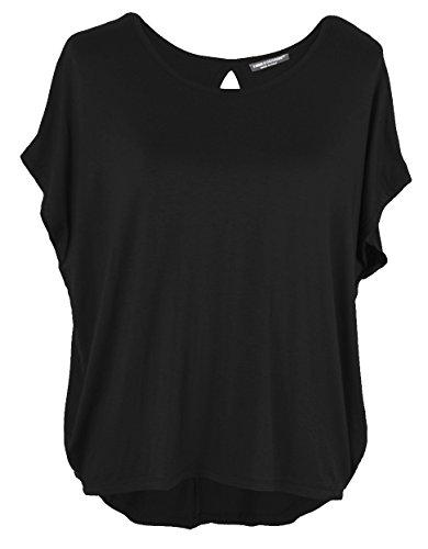 Emma & Giovanni Damen Basic Sommer T-Shirt/Oberteile Kurzarm, Schwarz, Gr.- DE 42-44 (Herstelleretikett XL)