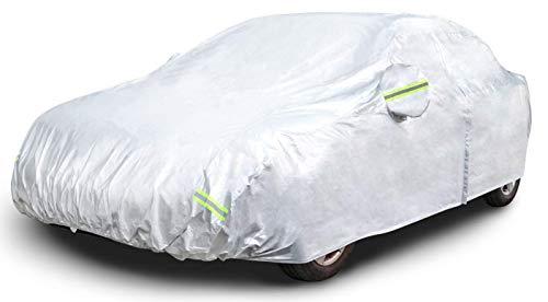 AmazonBasics – Funda resistente a la intemperie para vehículo, poliéster de tipo Oxford de 150D, para sedanes de hasta 480cm, Plateada