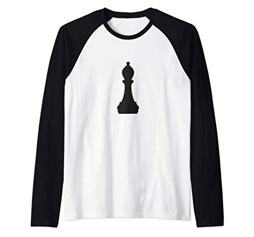 Disfraz de Halloween de pieza de ajedrez de obispo negro Camiseta Manga Raglan