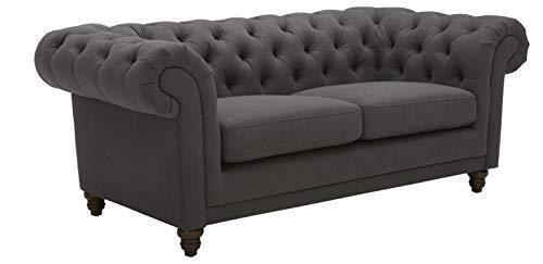 Amazon Brand – Stone & Beam Bradbury Chesterfield Tufted Loveseat Sofa Couch, 78.7'W, Pepper