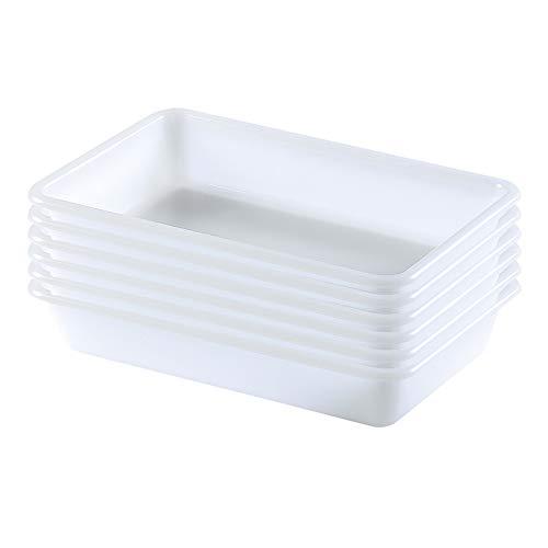 COM-FORT HOUSE Bandejas de Plástico o Barreño Plastico Rectangular Almacenaje, Blanco… (Tamaño 4, 6 unidades)
