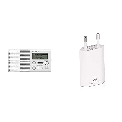 Sony XDR-P1DBP Taschenradio (DAB/DAB+, 20h Akku) & Wicked Chili Pro Series Netzteil - Ultra Slim - USB Adapter für Handy, Tablet, eBook Reader, Smartphone (1000 mA, 100-240V, weiß/White)