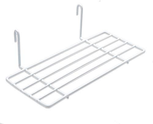 Mini Regal für Design Metall Wandgitter | Foto Eisen Gitter Raster Dekoration | Memo -Moodboard | Gridpanel | Wand Organizer | DIY Multifunktions -Grid Deko | Draht | weiß 25 x 10 cm Ablage (Weiß)