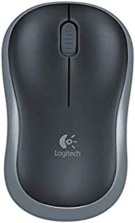 Logitech M185 Wireless Mouse USB for PC Windows, Mac and Linux, Grey with Ambidextrous Design Black