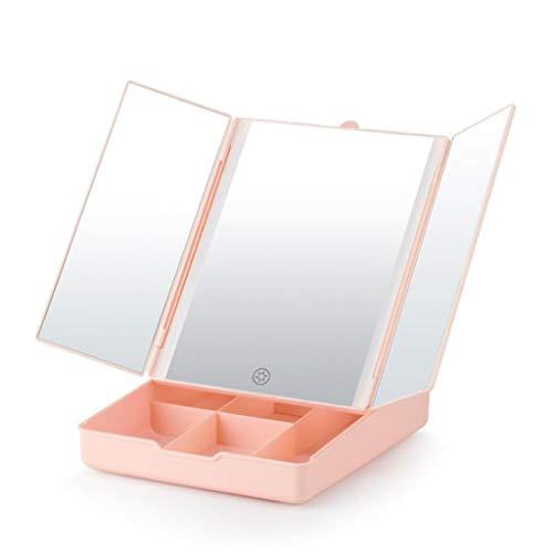 Espejo Maquillaje Espejo Cosmético Espejo de vanidad de Aumento Triple de 7X con Caja de Almacenamiento Espejo de Maquillaje Iluminado con luz LED Iluminado Espejo Maquillaje Espejo Cosmético