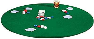 Palos Designs Fitted Round Elastic Edge Solid Green Felt Ta ble Cover for Poker Puzzles Board Games Fits 36 Inch to 48 Inch Round Table and 36 Inch Square Tables