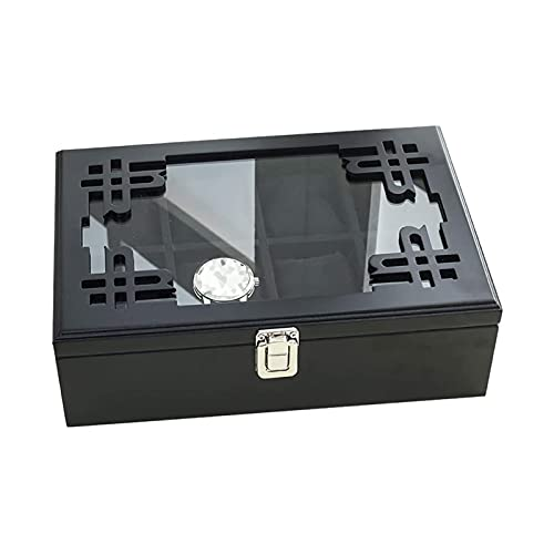 ZXNRTU Caja de recolectores de Reloj for 8 Relojes de Pulsera con Tapa de Vidrio, Negro
