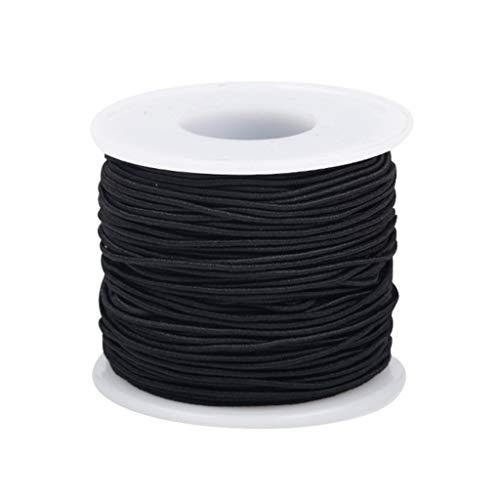 SHANGUP Elastische Schnur Perlenschnur Gummiband Dünn Beading Thread 0.8MM x 50Meters für DIY Handwerk Kinder Schmuck Basteln Perlen Armbänder Halsketten (Schwarz)