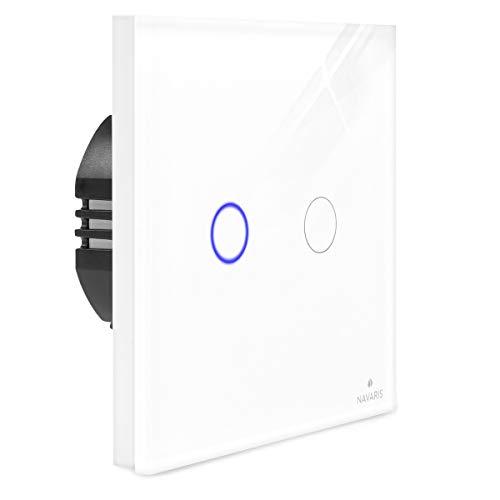 Navaris 2-fach Touch Lichtschalter Wandschalter - mit Montagematerial Glas Panel und Status-LED - Licht Schalter innen außen - Einbauschalter Weiß