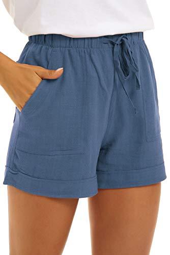 NEYOUQE Tall Athletic Shorts for Women Elastic Waist Cute Travel Linen Beach wear Short Overalls Belts Lightweight Drawstring Summer Running Pants Dusty Blue L