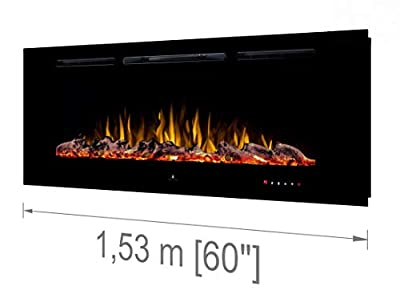 "Noble Flame Paris 1530 (153 cm / 60"") - Electric Fireplace Wall Fireplace Fire Chimney - Wall Mount Remote Control - 14,5 cm Installation Depth - Black"