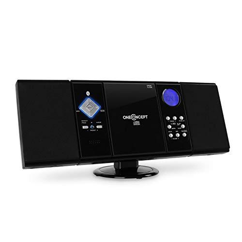 OneConcept V-12 -BT - Stereo, kompaktes Mikro-Soundsystem, Bluetooth-Schnittstelle, MP3-fähiger CD-Player, USB-Anschluss, FM/MW Radio-Tuner, 20 Senderspeicher, AUX-In, Fernbedienung, schwarz