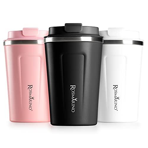 ROSMARINO Reise-Kaffeebecher - Tragbare Vakuumisolierte, Doppelwandige Thermobecher To Go - Wiederverwendbare Trinkbecher aus Edelstahl - 7x9 x 13 cm I Schwarz, 350 ml