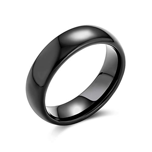 Plain Simple Dome Black Couples Anello da Sposa in Titanio per Uomo per Donna Comfort Fit 6MM