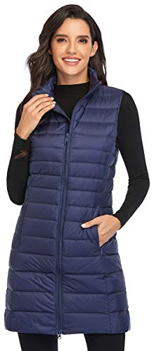 Obosoyo Women's Ultra Light Long Down Vest Winter Packable Down Jacket Lightweight Outdoor Puffer Vest Coat