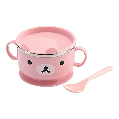 Generies Baby Bowl mit Deckel Spill Proof Stay Put Verbrühschutz Edelstahl Kinder Isolierschalen Löffel Set