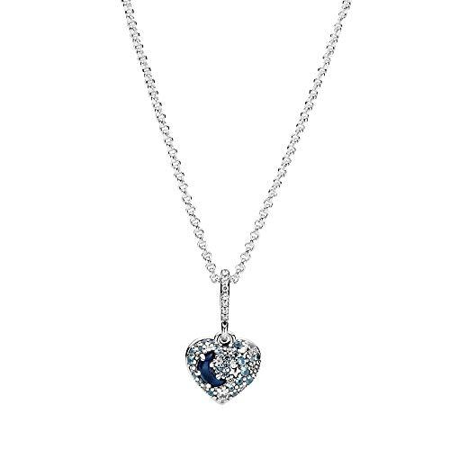 Pandora Collar de plata de ley de 50 cm con diseño de luna y estrella azul
