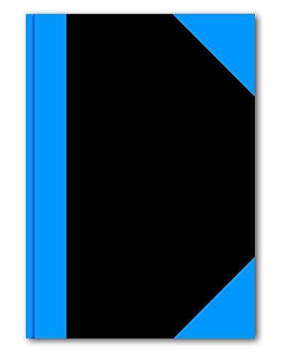 STYLEX 29104 Kladde A4, 192 Seiten liniert, schwarz mit blauen Ecken