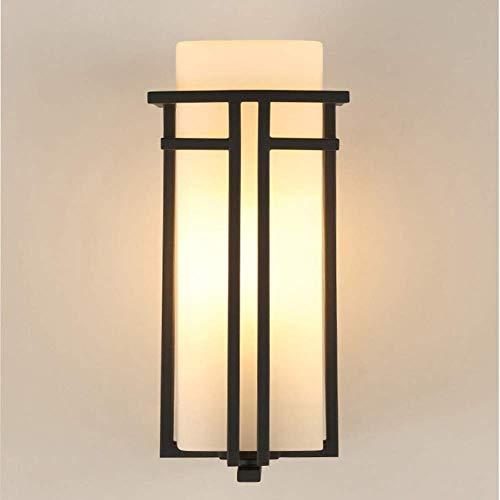 Gamvdout Simple y Elegante Luz de Pared a Prueba de Agua al Aire Libre, E27 LED Metal Glass Lampshade Wall Sconte for Corridor Garage Park Iluminación Decoración (Color : Black a, Size : 31x18cm)