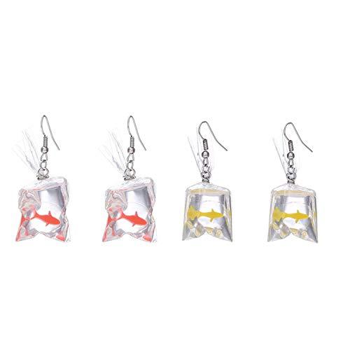 Goldfisch Ohrringe lustiges Design eines Goldfischs in einem Wasserbeutel, mit Haken, Geschenkschmuck von PPX