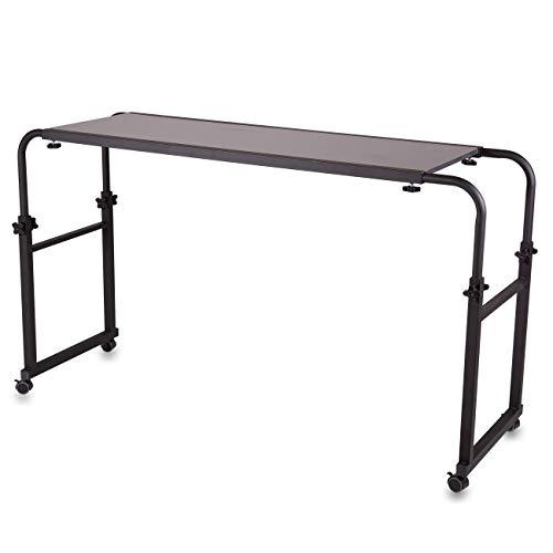 Bett-Tisch mit Rollen, höhenverstellbar, breitenverstellbar, Laptoptisch, Beistelltisch Schlafzimmer, Frühstück im Bett, Computertisch, Notebookständer, Notebooktisch, Pflegetisch, mit Rädern