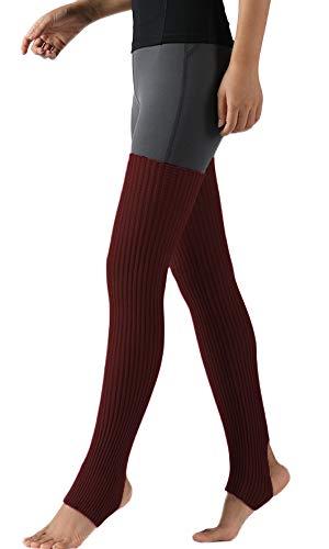 Nanxson Damen Beinwärmer Winter Gerippt Gestrickt Beinstulpen Strumpf für 80er Jahre Party Dance Sport Yoga TTW0072 (dunkel rot)